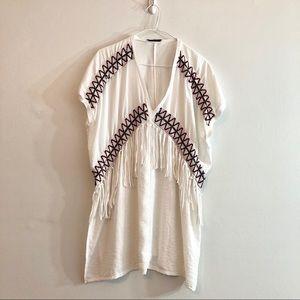 Zara Embroidered Fringe Swim Cover Tunic,  L/XL